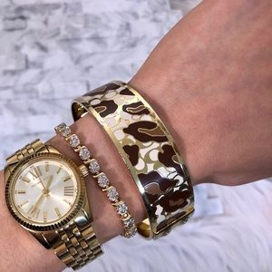 Coach Enamel Gold Tone Bangle Bracelet